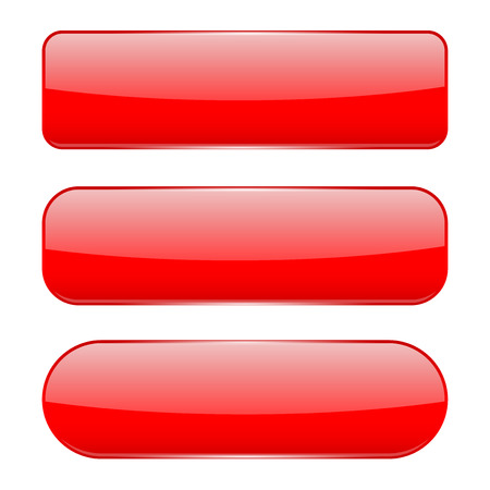 Red 3d glass buttons. Vector illustration isolated on white background
