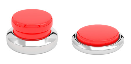 Red push buttons. Alert elements. Normal and pressed position. 3d render illustration
