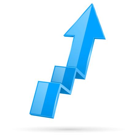 Blue indication arrow. Moving up 3d financinal sign. Vector illustration isolated on white background Ilustração