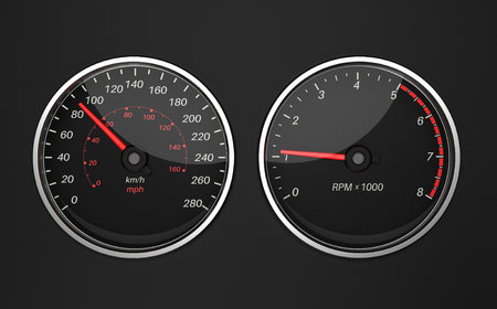 Speedometer and tachometer. Black car dashboard elements. 3d rendering illustration.