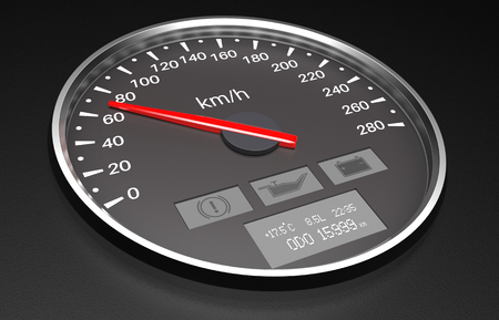Black speedometer. 3d render illustration Stok Fotoğraf
