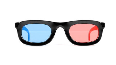3d movie glasses. Colored spectacles for movie theater. 3d rendering illustration isolated