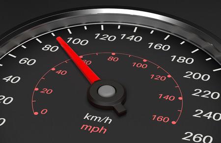 Speedometer. 90 km speed. 3d rendering illustration