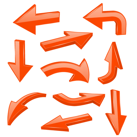 Orange bold arrows. 3d shiny signs. Vector illustration isolated on white background Ilustração