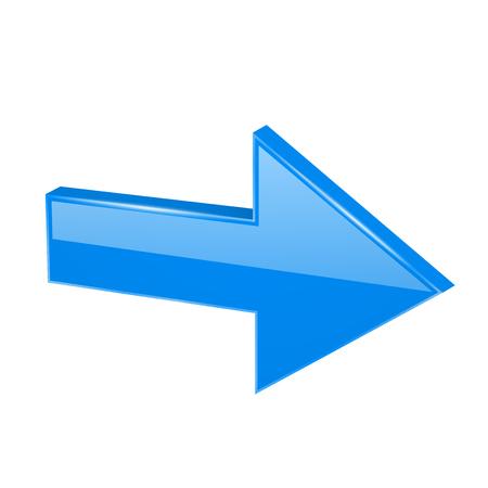 Blue 3d arrow. Vector illustration isolated on white background Çizim