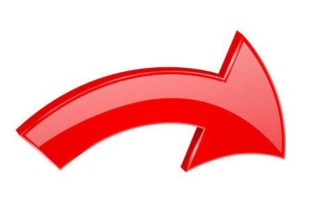 Red arrow. Shiny 3d symbol. Vector illustration isolated on white background Çizim