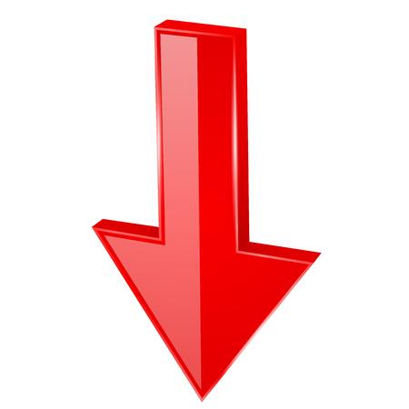 Red DOWN arrow. 3d web icon. Vector illustration isolated on white background Vektoros illusztráció