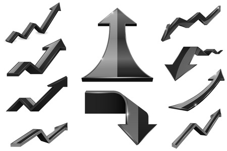 Black arrows. Financial indication icons set. Vector illustration isolated on white background Ilustração