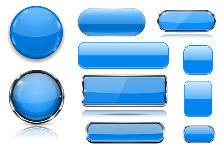 Blue glass buttons. Collection of 3d icons. Vector illustration isolated on white background Фото со стока - 124996606