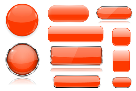 Orange glass buttons. Collection of 3d icons. Vector illustration isolated on white background Ilustração