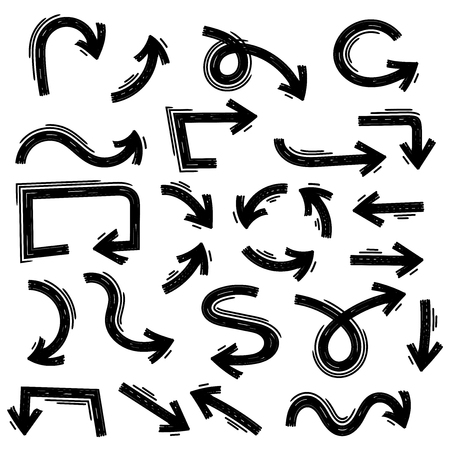 Arrows. Hand drawn signs. Vector illustration isolated on white background