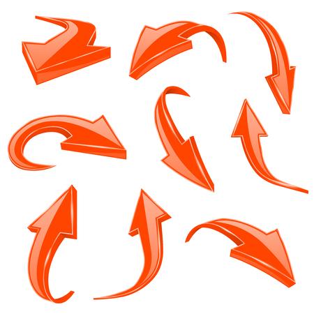 Orange 3d shiny arrows. Set of bent icons. Vector illustration isolated on white background