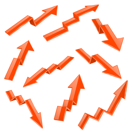 Financial indication arrows set. Orange 3d shiny icons. Vector illustration isolated on white background