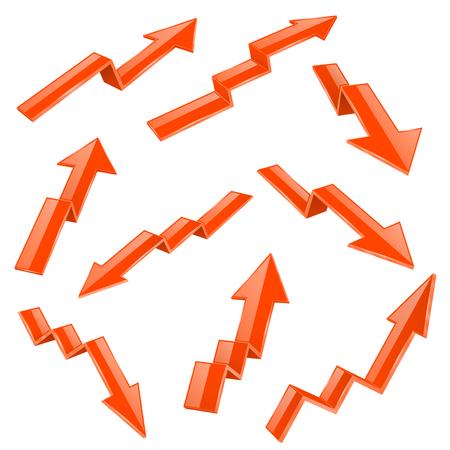 Financial indication arrows set. Orange 3d shiny icons. Vector illustration isolated on white background