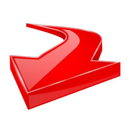 Red shiny 3d arrow. Vector illustration isolated on white background Çizim