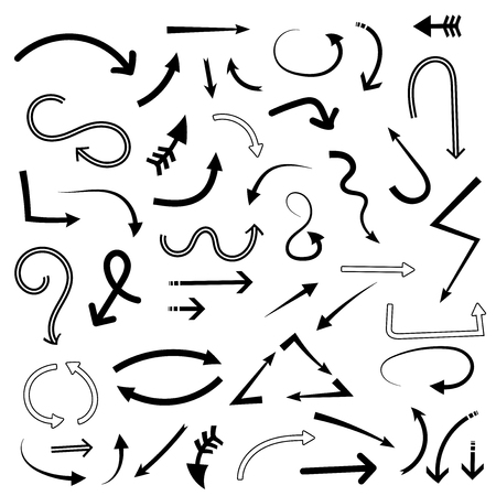 Doodle arrows. Set of hand drawn cartoon signs. Vector illustration isolated on white background Illustration