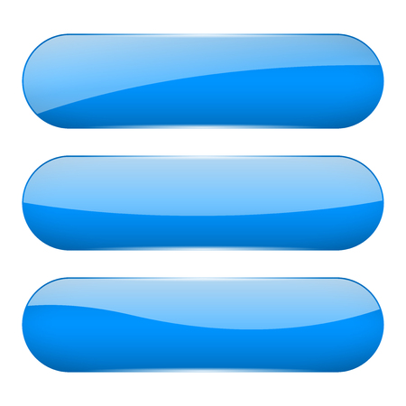 Blue oval glass 3d buttons. Vector illustration isolated on white background Ilustração
