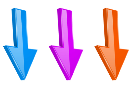 Colored arrows. Shiny 3d DOWN web icons. Vector illustration isolated on white background