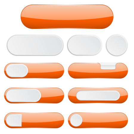 Orange interface buttons. Web icons. Vector illustration isolated on white background 向量圖像