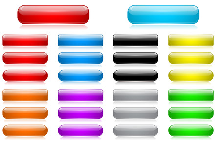 Colored 3d glass buttons. Vector illustration isolated on white background