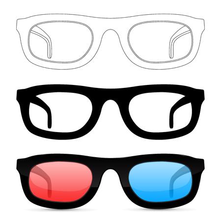 Glasses. Set. Vector illustration isolated on white background Иллюстрация
