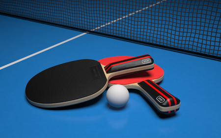 Table tennis set. Two rackets with ball on a blue game table. 3d rendering