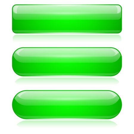 Green 3d glass buttons. Vector illustration isolated on white background
