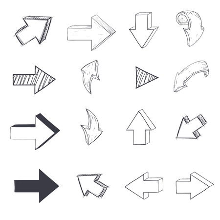 Arrows. Sketch drawing. Vector illustration isolated on white background