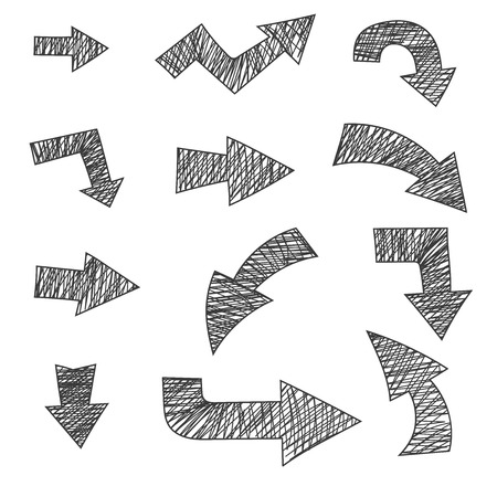 Arrows. Hand drawn with pencil. Grunge style. Vector illustration isolated on white background Illustration