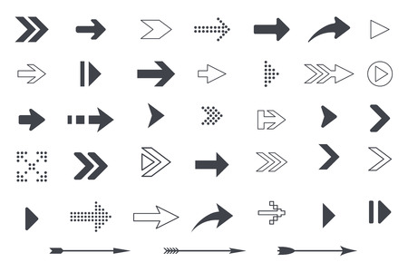 Collection of arrows and icon symbols. Vector illustration isolated on white background Illustration