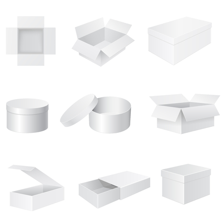 White paper boxes. Set od 3d objects. Vector illustration isolated on white background
