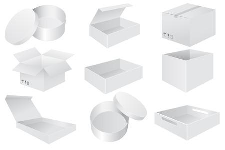 Cajas de papel blanco. Establecer objetos 3d od. Ilustración de vector aislado sobre fondo blanco.