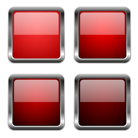 Red glass square buttons with chrome frame. Vector 3d illustration isolated on white background
