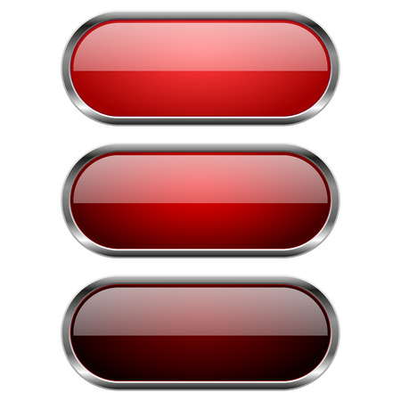 Red glass buttons with chrome frame. Vector 3d illustration isolated on white background Illustration