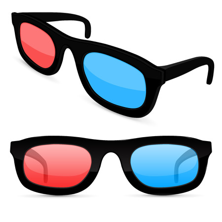 3d movie glasses. Colored spectacles for movie theater. Vector illustration isolated on white background