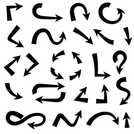 Black bold arrows. Set of symbols. Vector illustration isolated on white background