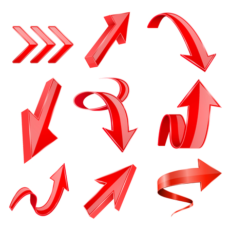 Red 3d shiny arrows. Vector illustration isolated on white background Illustration