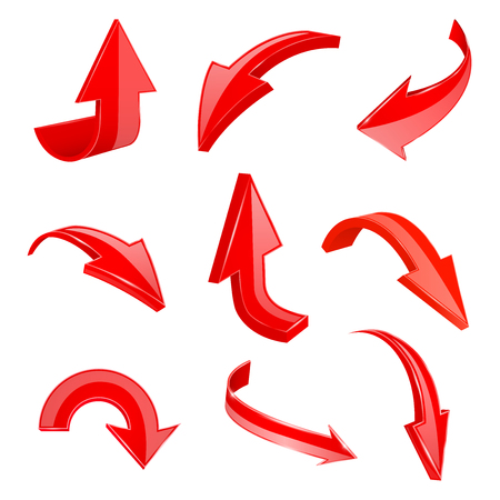 Red 3d shiny arrows. Set of bent icons. Vector illustration isolated on white background