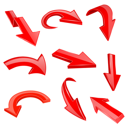 Czerwone strzałki błyszczące 3d. Zestaw ikon giętych. Ilustracja wektorowa na białym tle