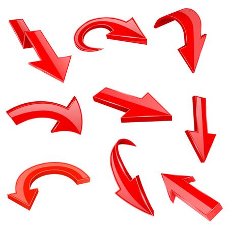 Rode 3d glanzende pijlen. Set van gebogen pictogrammen. Vectorillustratie geïsoleerd op een witte achtergrond
