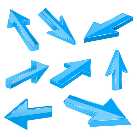 Blue straight 3d arrows. Vector illustration isolated on white background Illustration