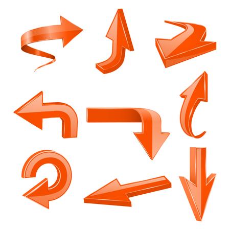 Orange set arrows. 3d shiny icons. Vector illustration isolated on white background