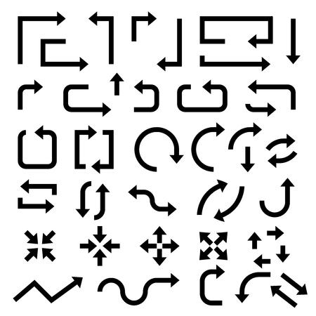 Black arrows. Set of symbols. Vector illustration isolated on white background