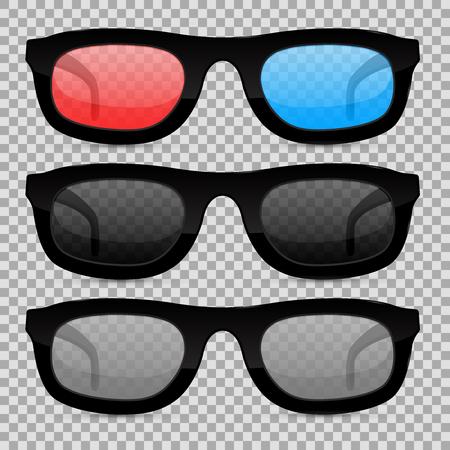 Glasses set on transparent background. Vector illustration isolated Illustration