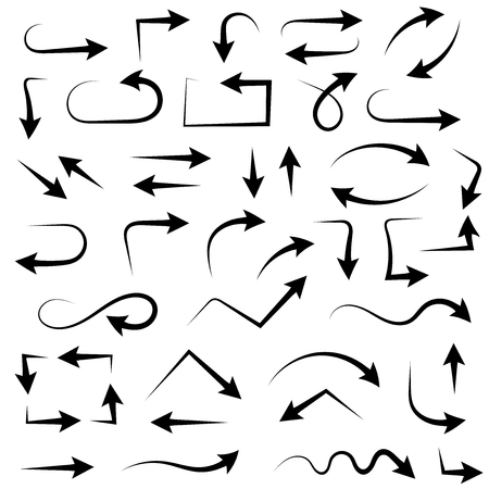 Black set of arrows. Hand drawn sketch. Vector illustration isolated on white background Illustration
