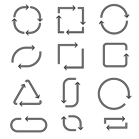 Arrows in circular motions. Double line style. Vector illustration isolated on white background Ilustração
