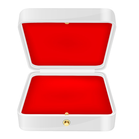Open white jewelry box with red velvet lining