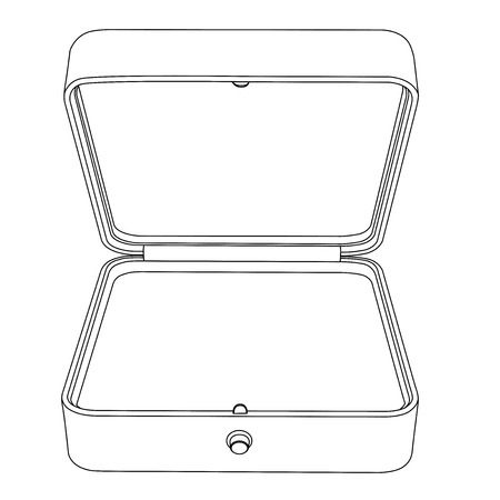 Jewelry box. Empty open gift box. Outline icon Illustration
