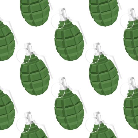 Military green grenade. Seamless pattern background. Vector 3d illustration