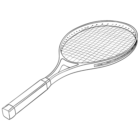 Tennis racket with a ball. Flat black hand drawn icon. Vector illustration isolated on white background